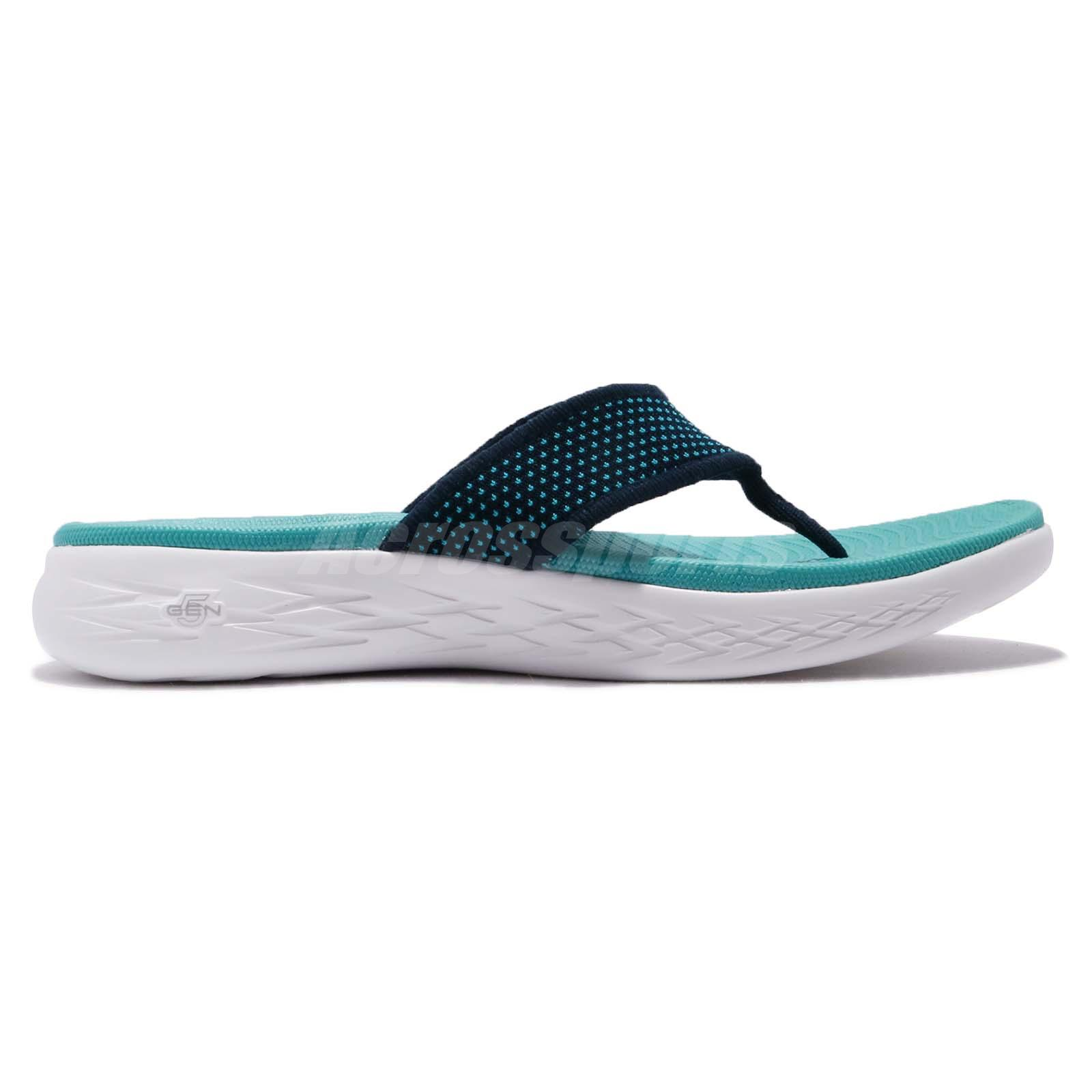 63132f34 Skechers On-The-Go 600 Navy Turquoise Women Sandal Thong Flip-Flops ...
