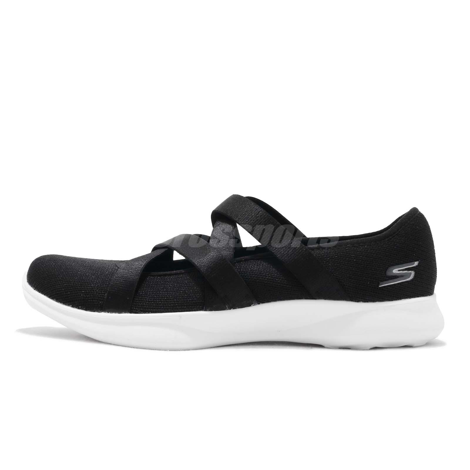 7e6cbb100fa1 Skechers Serene-Elation Black White Women Slip On Walking Casual Shoes  15847-BKW