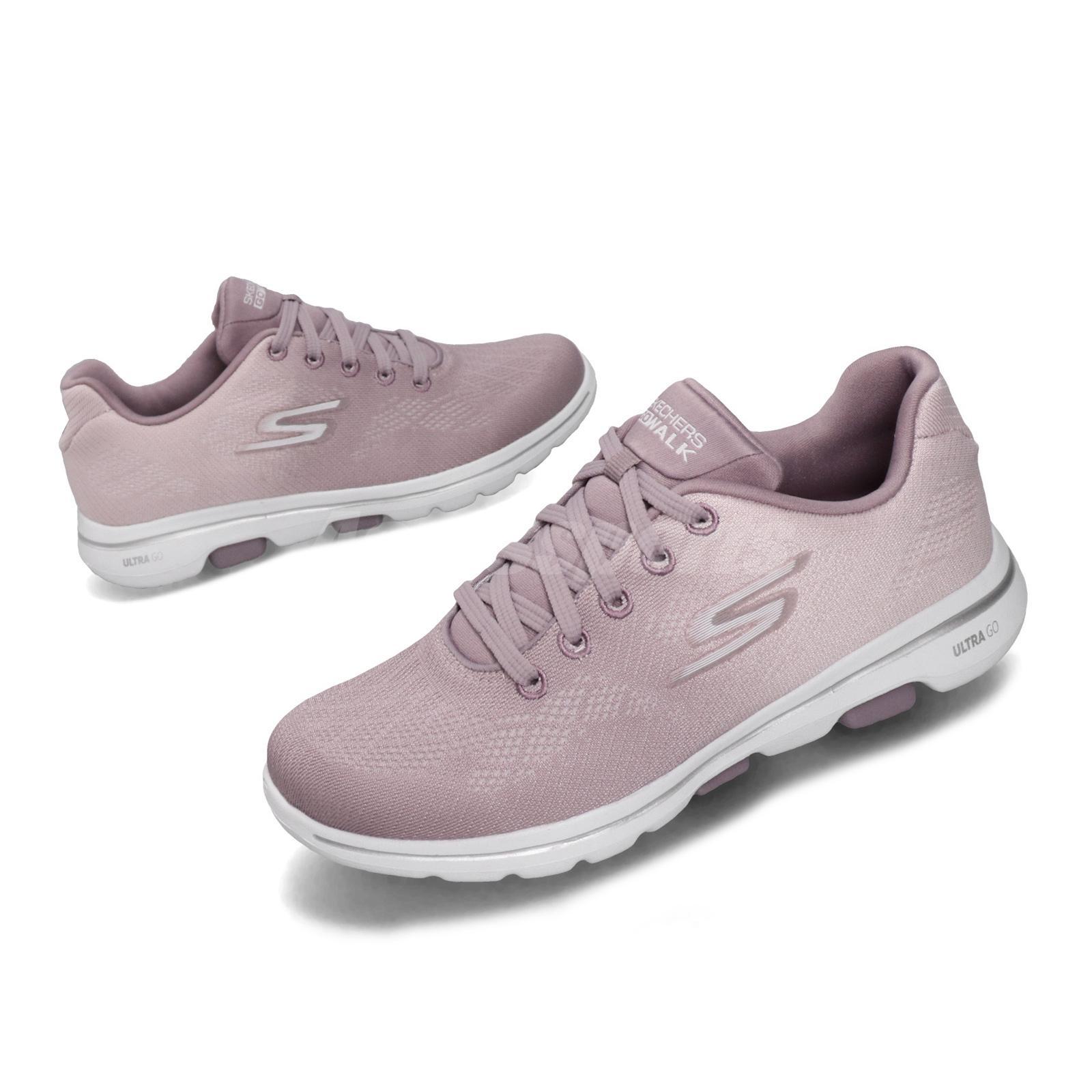 Details about Skechers Go Walk 5 Alive Mauve Purple White Women Running Shoe Sneaker 15929 MVE
