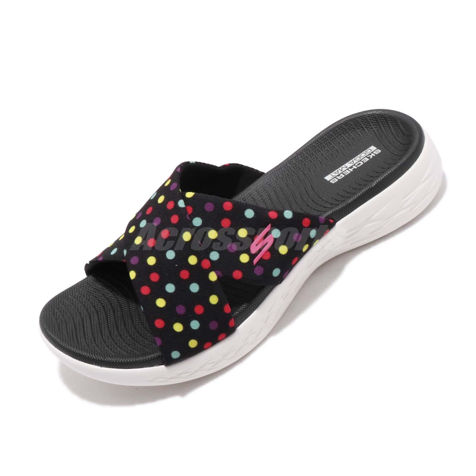 Details about Skechers On The Go 600-Kaleidoscope Black Dots Print Womens  Sandal 16171-BKMT