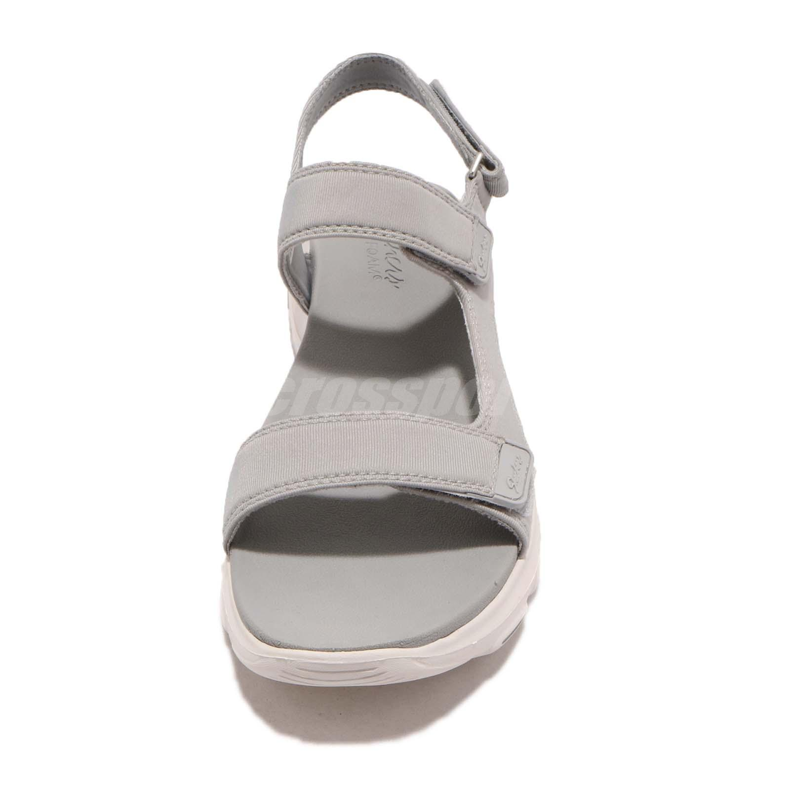 Details about Skechers DLites Ultra Camp Cool Grey White Women Sports Sandals Shoes 32383 GRY