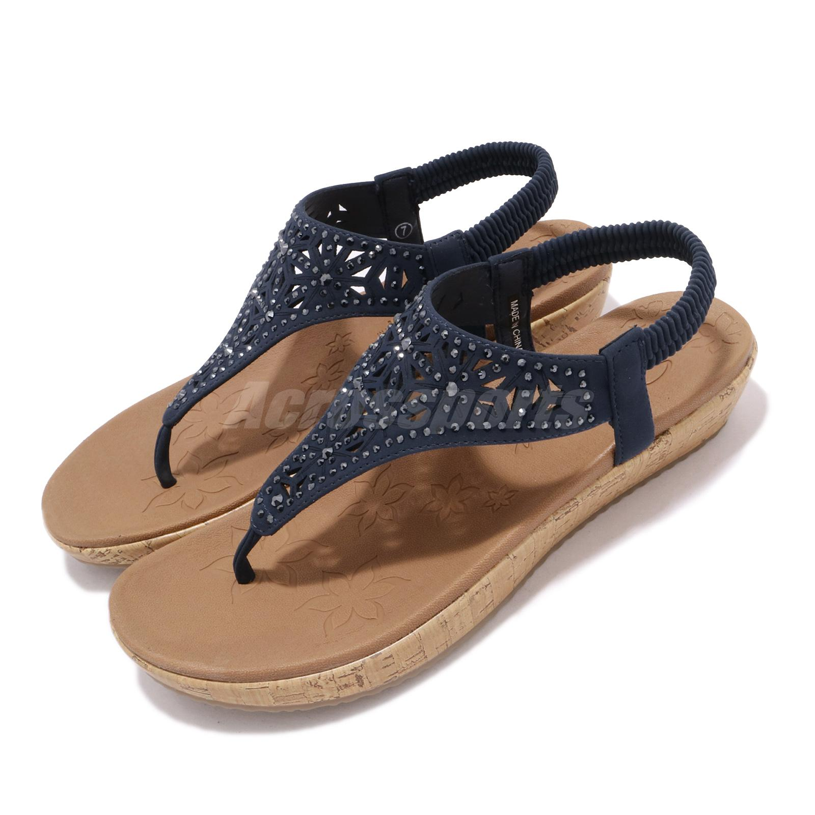 official images so cheap wide range Details about Skechers Brie-Dally Navy Rhinestone Cork Womens Lady Sandal  32832-NVY
