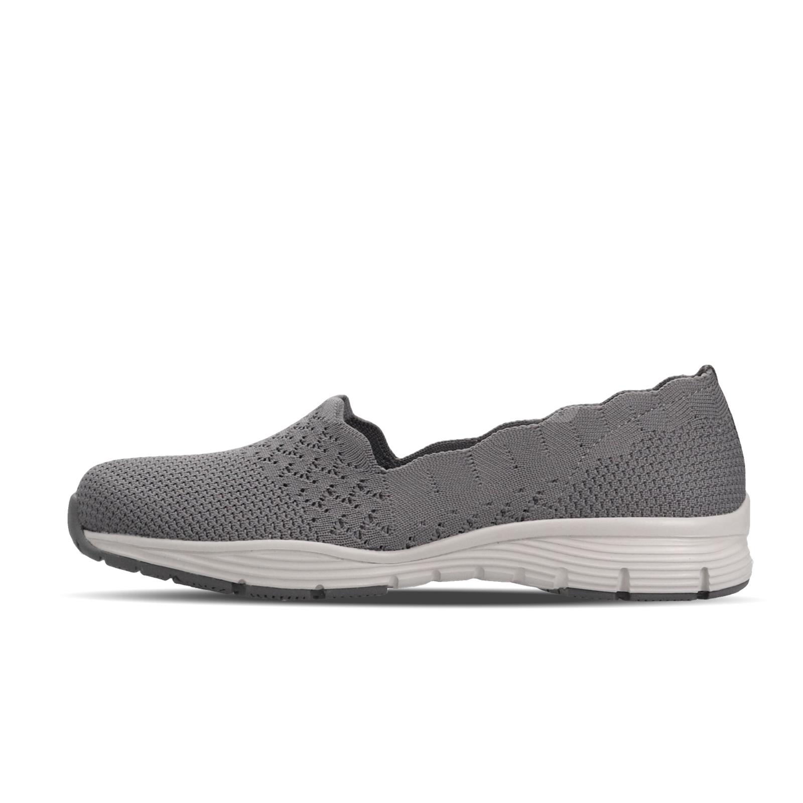 Details about Skechers Seager Stat Grey White Women Slip On Casual Shoes Loafers 49481 GRY