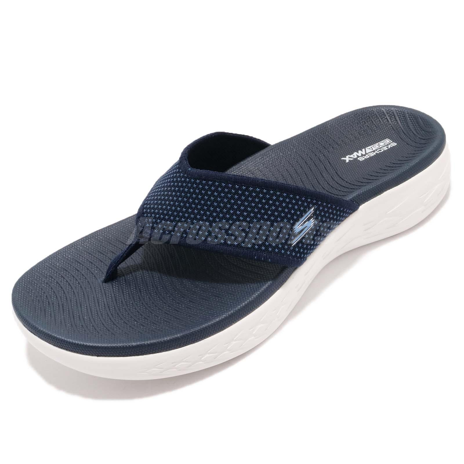00746dbf0 Skechers On-The-Go 600 Goga Max Navy White Men Sandal Thong Flip-Flops  55350-NVY