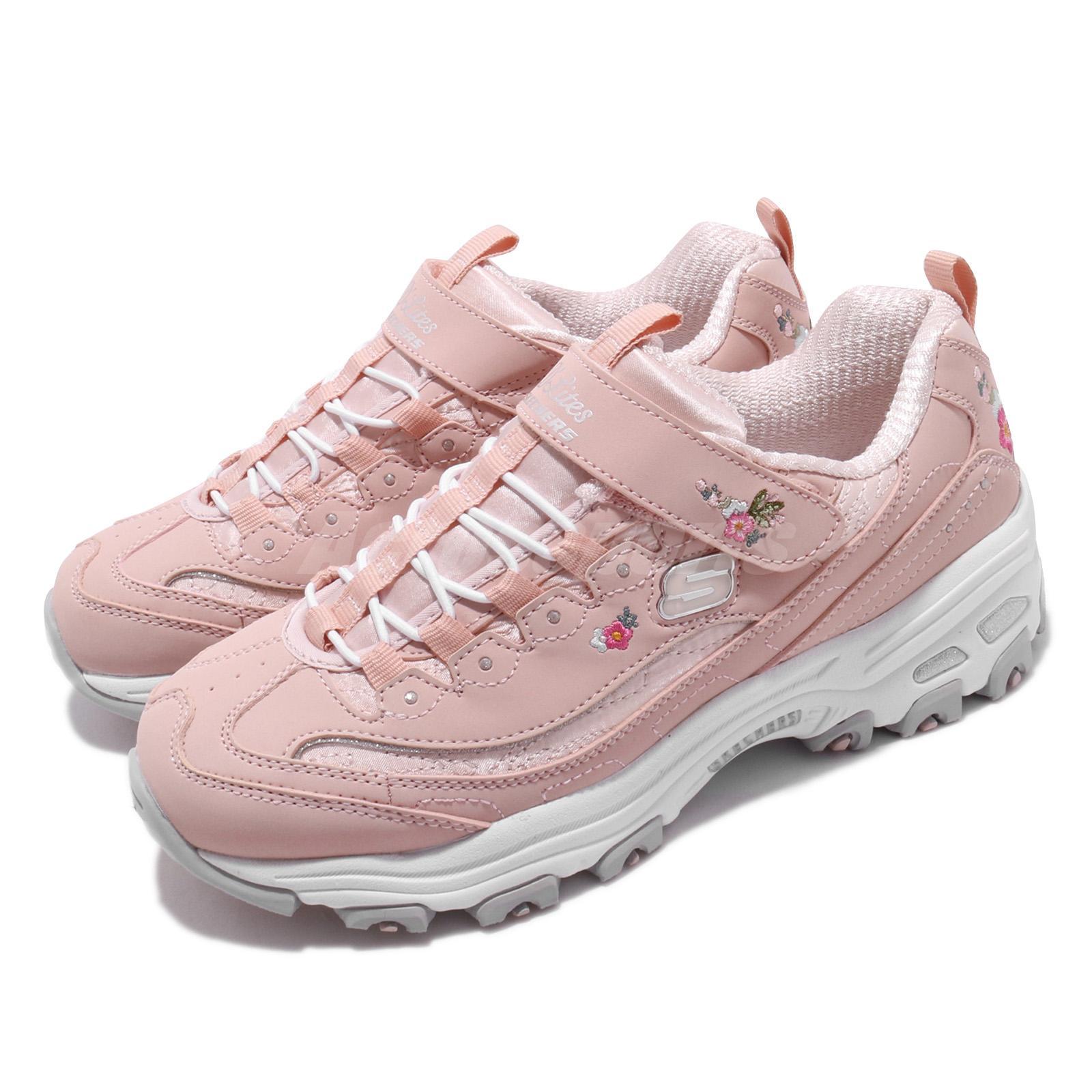 Details about Skechers D Lites LIL Blossom Light Pink White Floral Kid Women Shoes 80579L LTPK