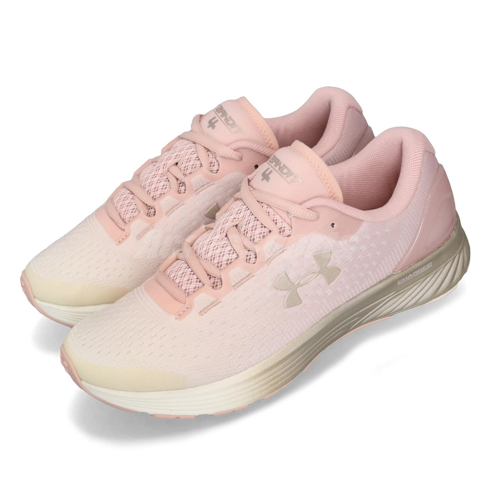 finest selection 9d889 dce1c Details about Under Armour UA Charged Bandit 4 Pink Grey Womens Running  Shoes 3020357-603