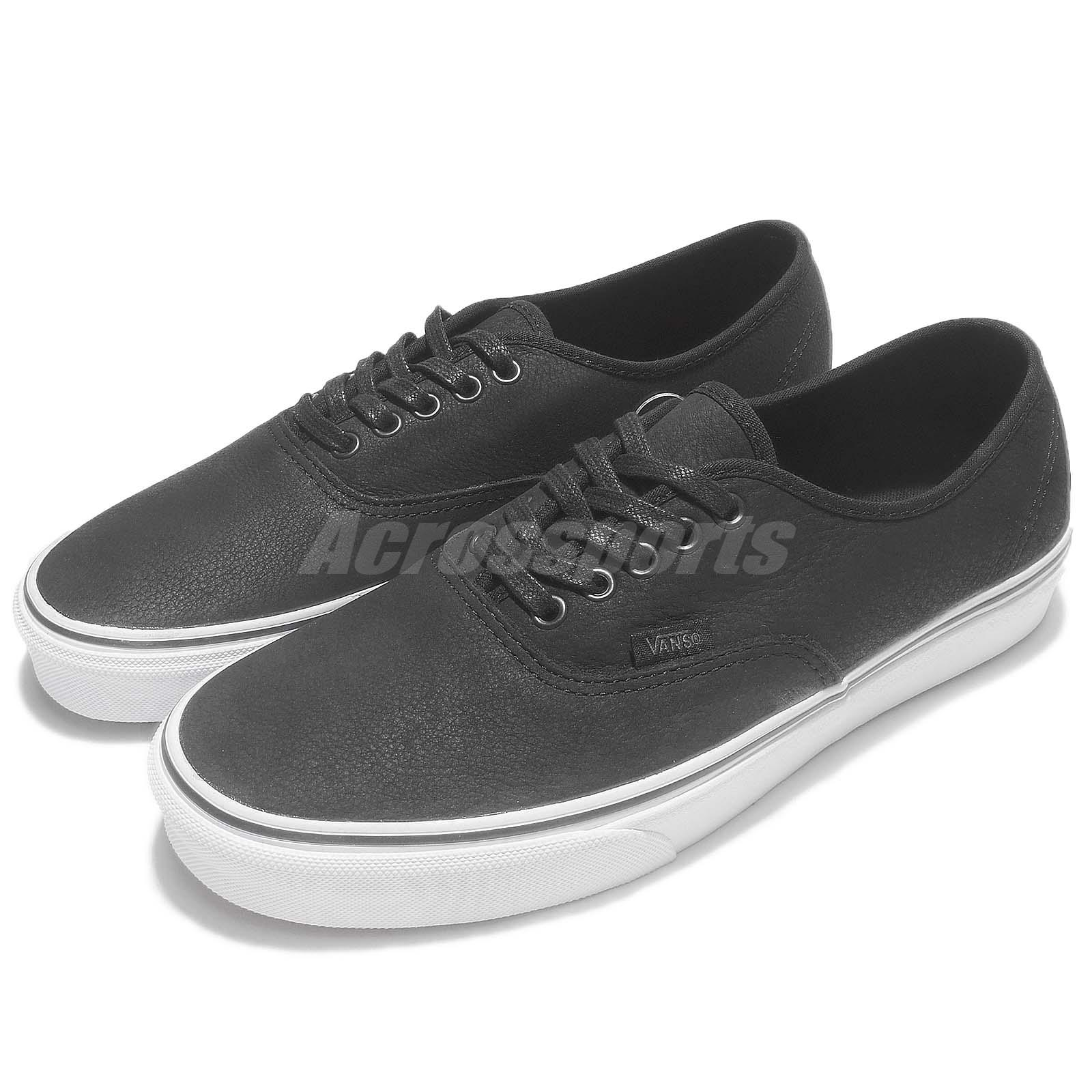 1c600861c5 Details about Vans Authentic Premium Leather Black White Men Skate Boarding  Shoes 63010133