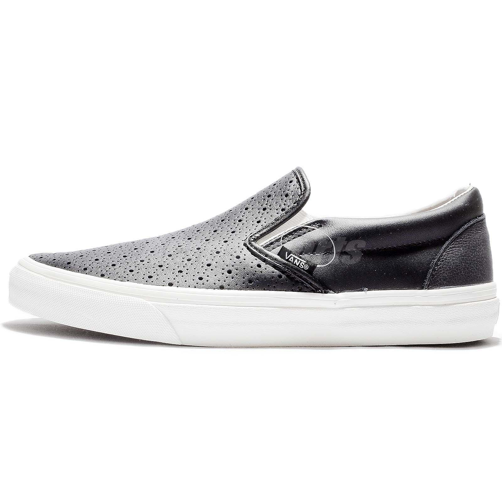 72dcb667acb0f5 Vans Classic Slip-On Black White Leather Men Casual Shoes Sneakers 71010822