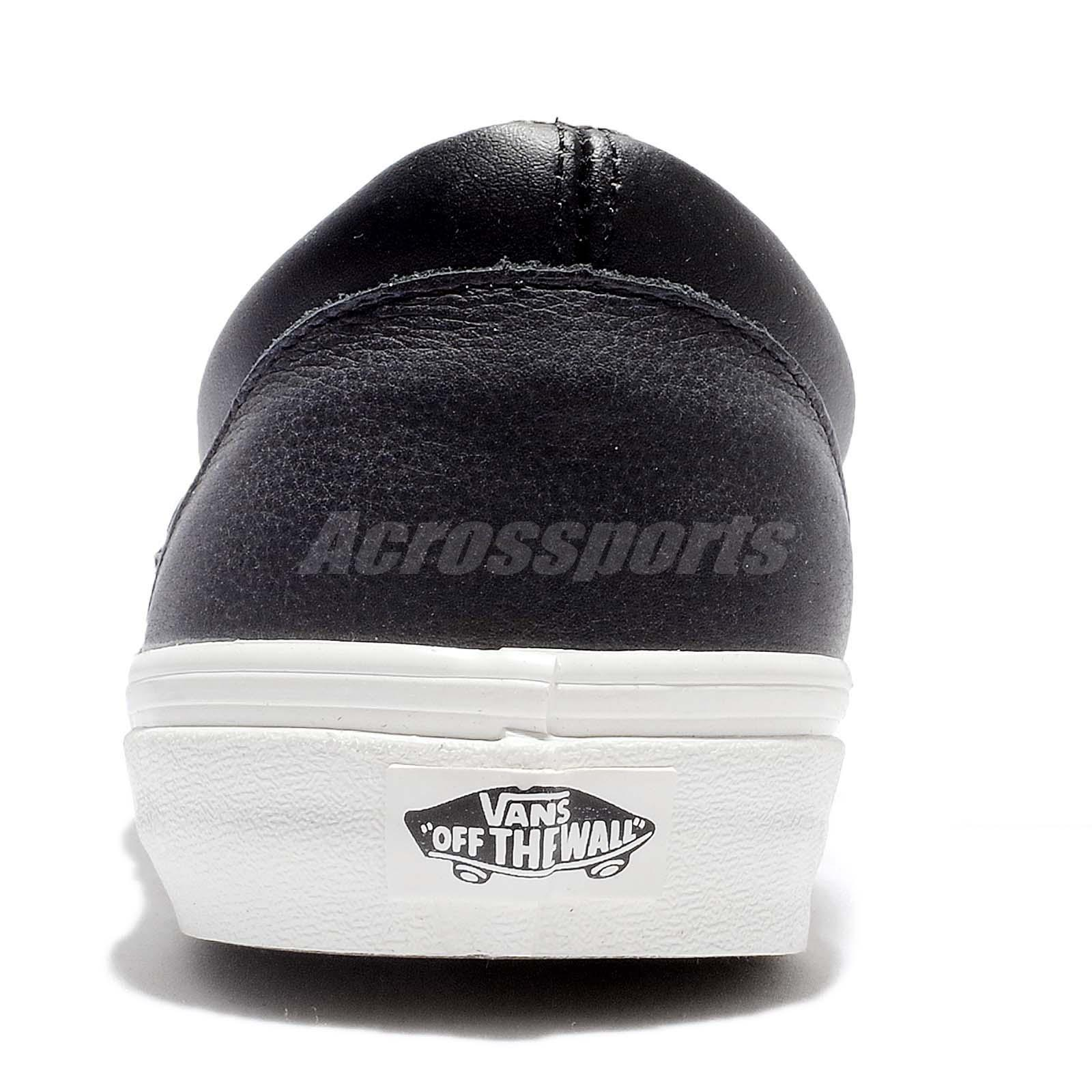 b84a02a2c8668e Vans Classic Slip-On Black White Leather Men Casual Shoes Sneakers ...